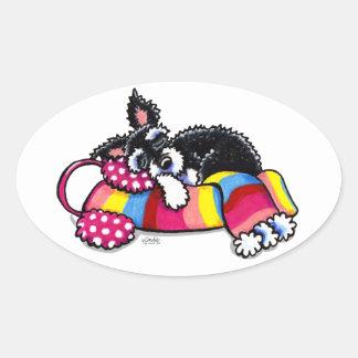 Warm Up Little Schnauzer Oval Sticker