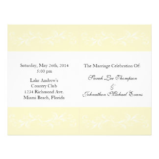 Warm Vanilla Sweet Floral Wedding Programs