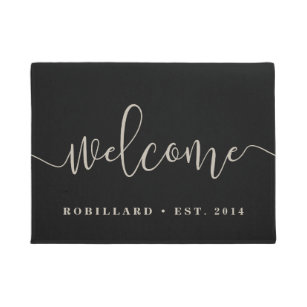 Warm Welcome | Modern Calligraphy Personalized Doormat