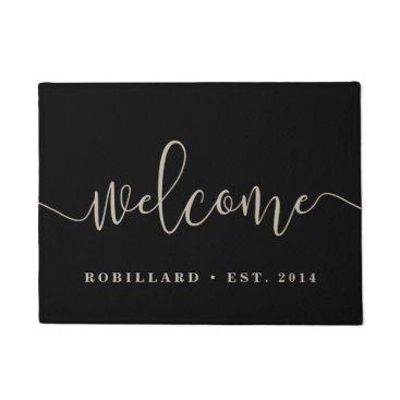 RedwoodAndVine Warm Welcome | Modern Calligraphy Personalized Doormat