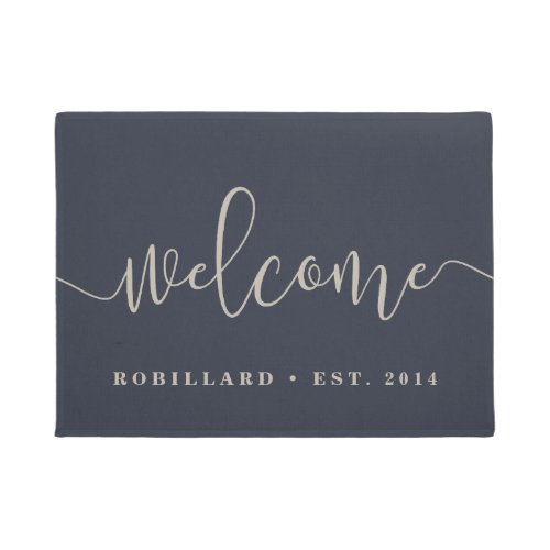 Warm Welcome  Modern Calligraphy Personalized Doormat