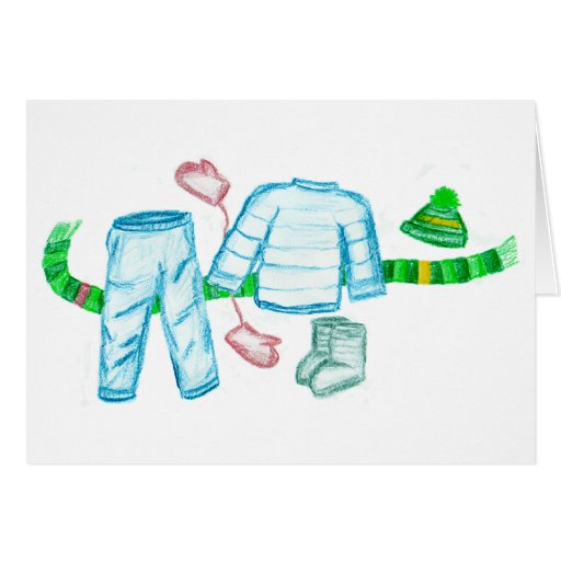 Warm Winter Clothing Greeting Cards