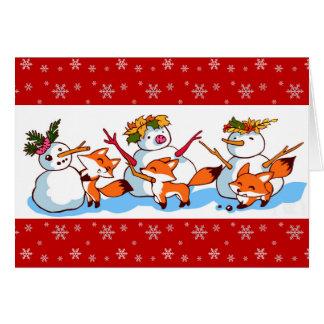 Warm winter cute cartoon greeting cards