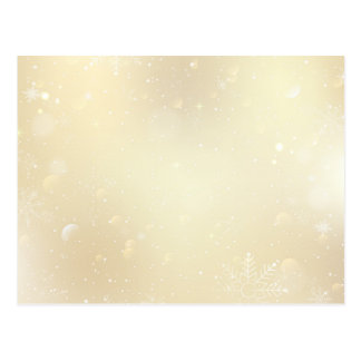 Warm Winter Gold Wonderland with Snowflakes Postcard
