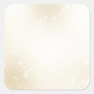 Warm Winter Gold Wonderland with Snowflakes Square Sticker