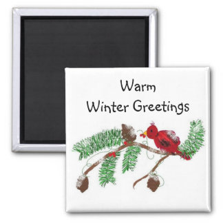 Warm Winter Greetings 2 Inch Square Magnet