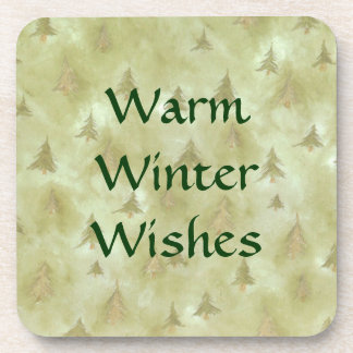Warm Winter Holiday Wishes Cork Coasters