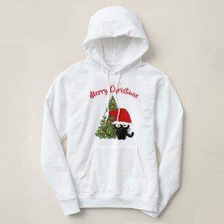 Warm Winter Hoodie with Christmas Black Cat Design