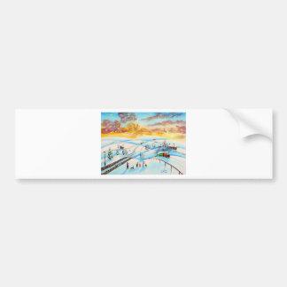 warm winter sky landscape painting Gordon Bruce Bumper Sticker