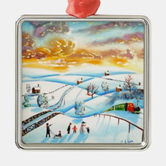 warm winter sky landscape painting Gordon Bruce Metal Ornament
