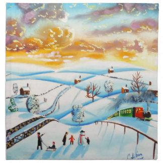 warm winter sky landscape painting Gordon Bruce Napkin