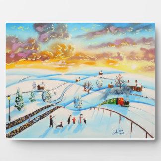 warm winter sky landscape painting Gordon Bruce Plaque