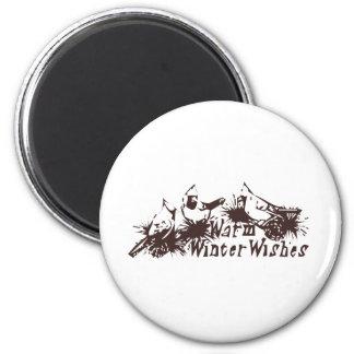 Warm Winter Wishes 2 Inch Round Magnet