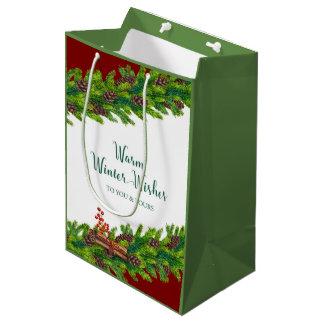 Warm Winter Wishes Christmas Garland with Cinnamon Medium Gift Bag