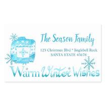 Warm Winter Wishes Christmas Sweater address Rectangular Sticker