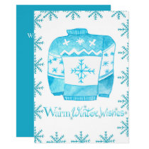 Warm Winter Wishes Christmas Sweater Invitation