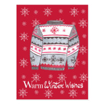 Warm Winter Wishes Christmas Sweater Postcard