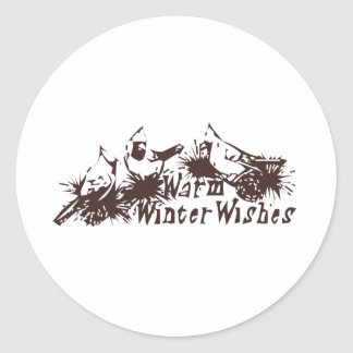 Warm Winter Wishes Classic Round Sticker