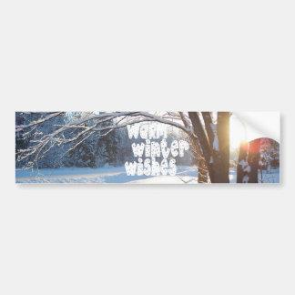 WARM WINTER WISHES Customizable Design Car Bumper Sticker