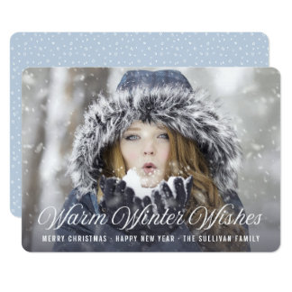 Warm Winter Wishes | Modern Script Holiday Photo Card
