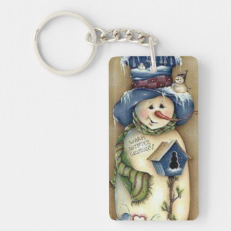 Warm Winter Wishes Snowman & Birdhouse Keychain