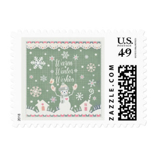Warm Winter Wishes Snowman Postage Stamps