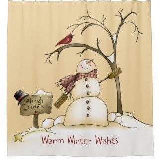 Warm Winter Wishes Snowman Red Bird Sleigh Rides Shower Curtain