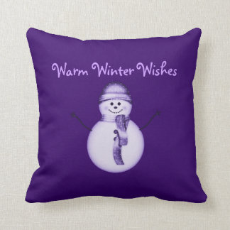"""Warm Winter Wishes"" - Snowman/Snowperson Purple Throw Pillow"