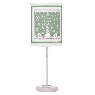 Warm Winter Wishes Snowman Table Lamp