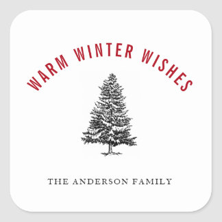 Warm Winter Wishes Spruce Tree Christmas Square Sticker