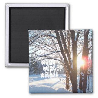 WARM WINTER WISHES Sunrise Design 2 Inch Square Magnet