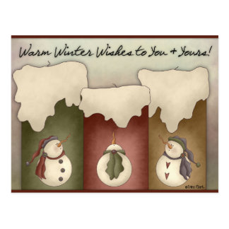 Warm Winter Wishes to You Yours Holiday Postcard