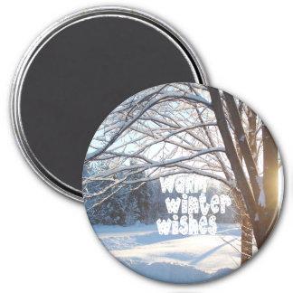 WARM WINTER WISHES Winter Sunrise Design 3 Inch Round Magnet