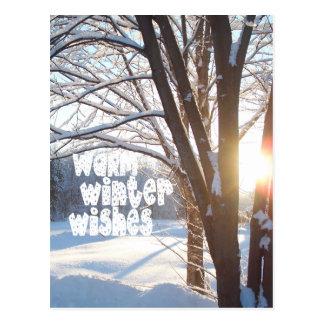 WARM WINTER WISHES Winter Sunrise Design Postcard