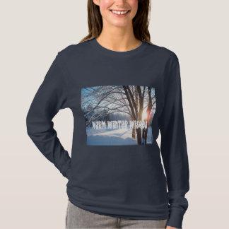 WARM WINTER WISHES Winter Sunrise Design T-Shirt