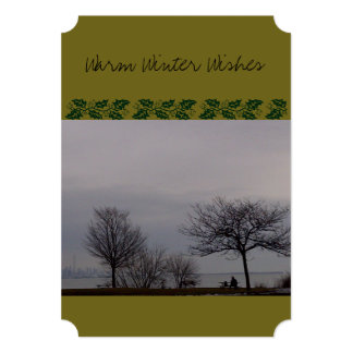 Warm Winter Wishes (with dog) by RoseWrites 5x7 Paper Invitation Card