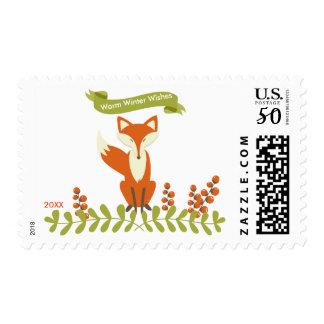 Warm Winter Wishes Woodland Fox - Postage Stamp