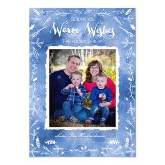 Warm Wishes Blue Snow Card