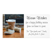Warm Wishes - Boots by fireplace Card