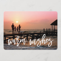 Warm Wishes Brush Lettered Holiday Photo