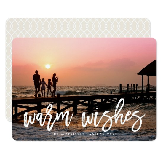 Warm Wishes Brush Lettered Holiday Photo Card
