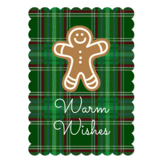 Warm Wishes Christmas Gingerbread Plaid Card
