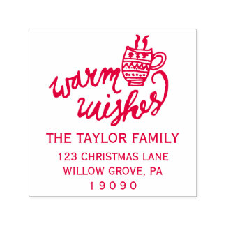 Warm Wishes Christmas Return Address Self-inking Stamp