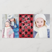Warm Wishes Holiday Hand Lettered Plaid 2-Photo
