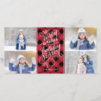Warm Wishes Holiday Hand Lettered Plaid 4-Photo
