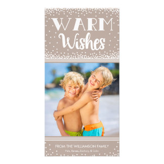Warm Wishes Holiday Photo Card / Beige
