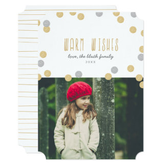 Warm Wishes Holiday Photo Flat Card