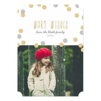 Warm Wishes Holiday Photo Flat Card