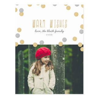Warm Wishes Holiday Photo Postcard