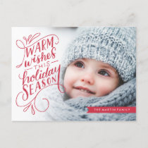 Warm Wishes Lettered Banner Holiday Photo